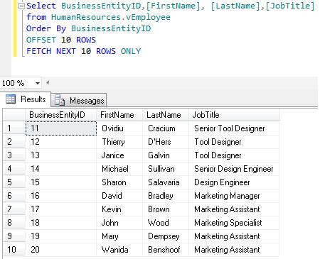 SQL Paging in SQL Server 2012 using ORDER BY OFFSET and FETCH NEXT (2/6)