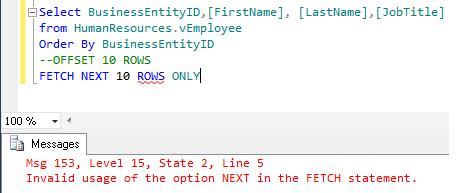 SQL Paging in SQL Server 2012 using ORDER BY OFFSET and FETCH NEXT (3/6)