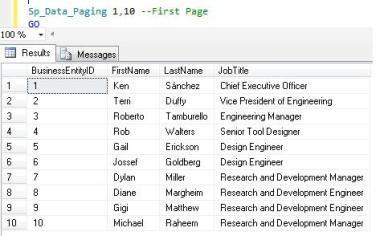 SQL Paging in SQL Server 2012 using ORDER BY OFFSET and