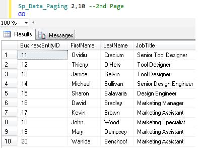 SQL Paging in SQL Server 2012 using ORDER BY OFFSET and FETCH NEXT (5/6)