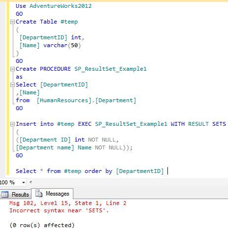 SQL SERVER – Stored Procedure – Insert into with result set  | SQL