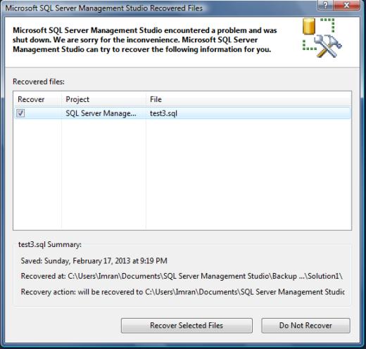 SQL SERVER 2012 – AUTO RECOVERY SCRIPTS | SQL Server Portal