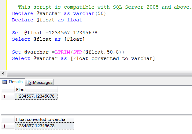 Sql server how to convert float to varchar sql server for Floor function example