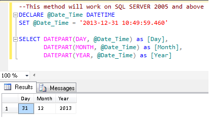SQL SERVER 2012 – Get Day, Month and Year separately from Date Time