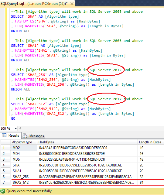 SQL SERVER – Cryptographic Functions – HASHBYTES