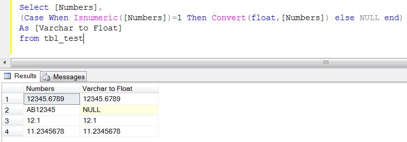 SQL SERVER – How to convert varchar to float | SQL Server Portal