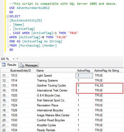 SQL SERVER - How To Convert From Boolean(bit) to String (2/2)
