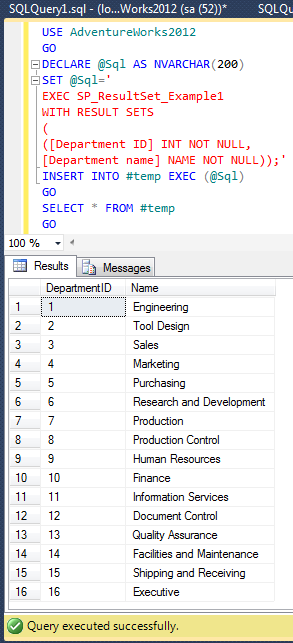 SQL SERVER 2012 – Stored Procedure – Insert into exec with