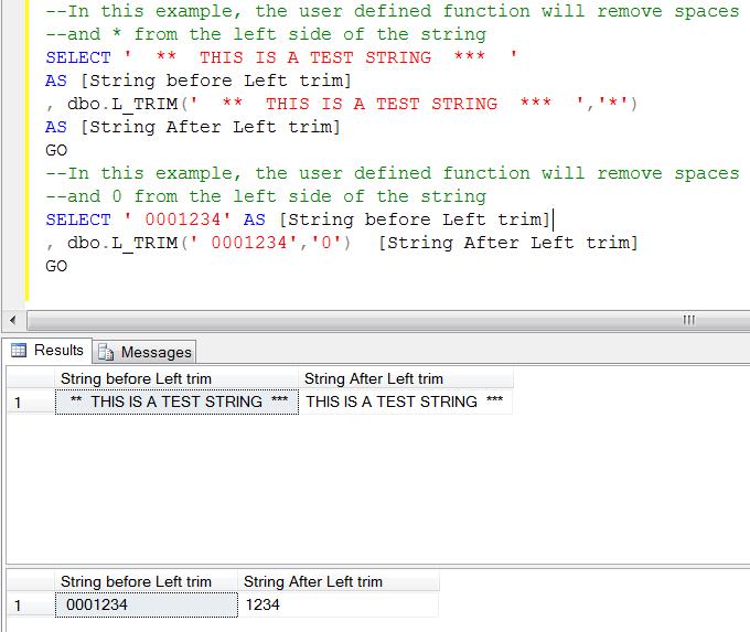 Sql ltrim function.