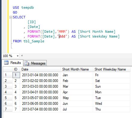 SQL SERVER – How to get short month name / weekday name from