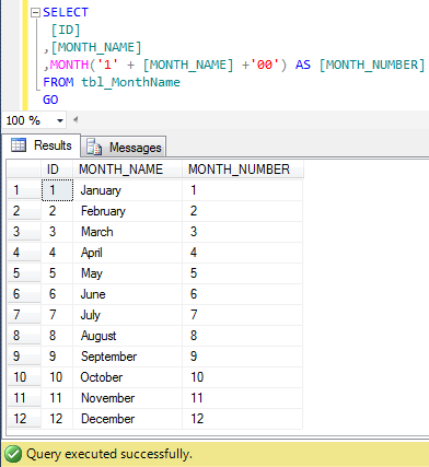 SQL Server – Multiple ways to convert Month name to Month