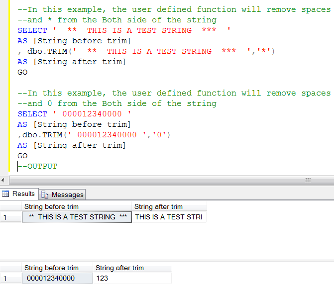 Sql trim function w3resource.