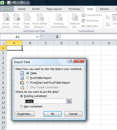 SQL excel connectivity1.5