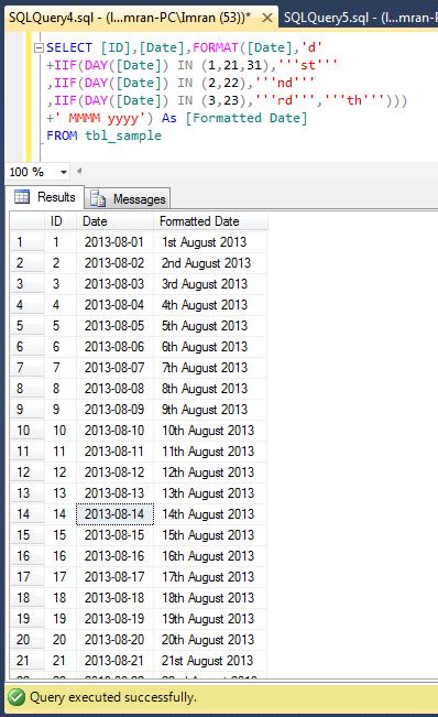 Sql server format date in Melbourne