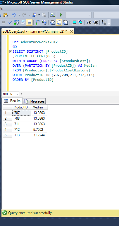 Sql server 2012 shortest way to calculate median sql server portal note whenever you calculate median using percentilecont make sure it is percentilecont05 ccuart Gallery