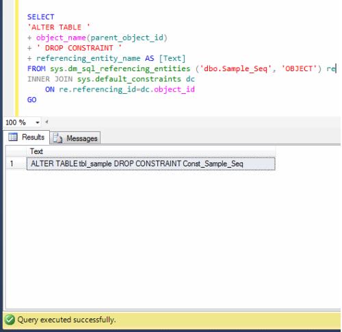 Drop sequence object sql server portal - Alter table drop constraint ...