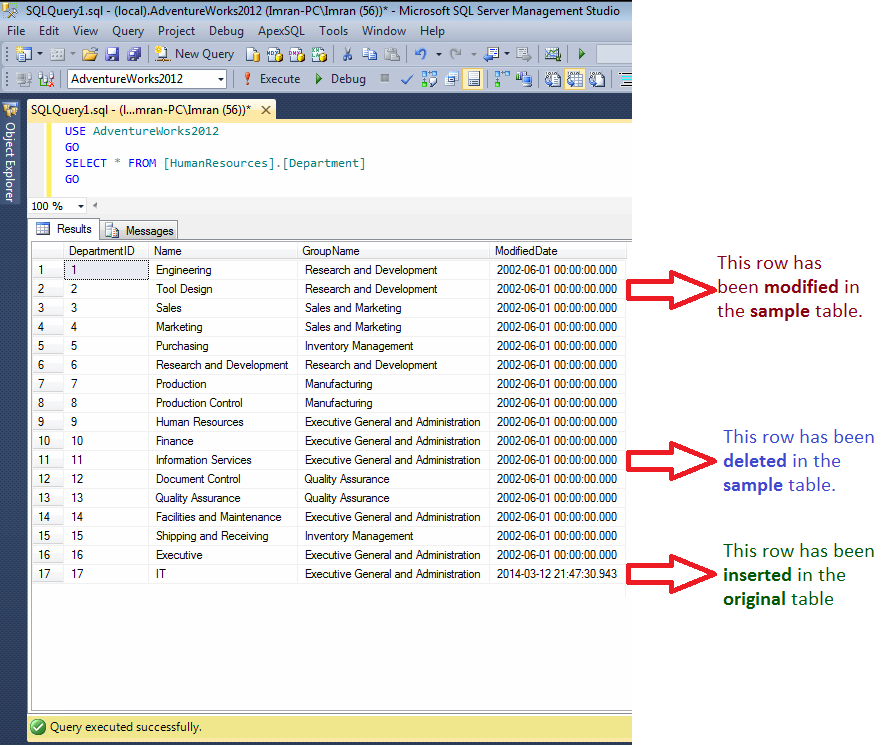 SQL SERVER - How to find missing (mismatch) rows across result sets (1/2)