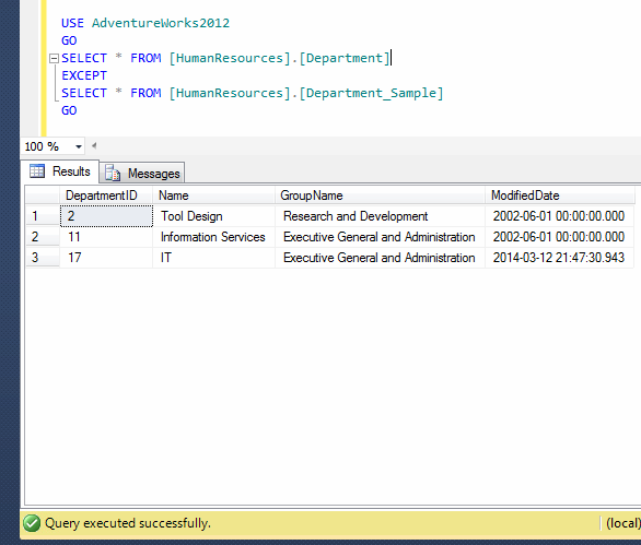 SQL SERVER - How to find missing (mismatch) rows across result sets (2/2)