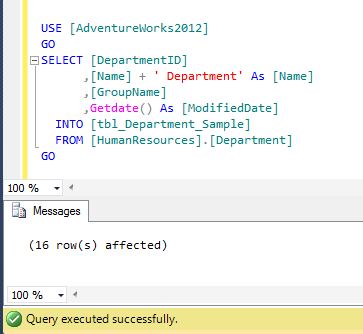 SQL SERVER – How to convert Select statement result set into