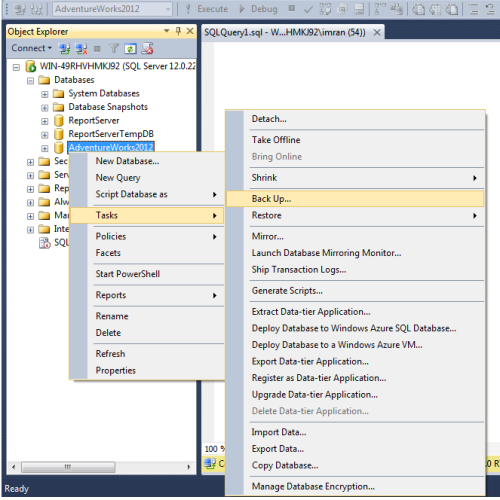 SQL Server Back to Azure using SSMS.1..1