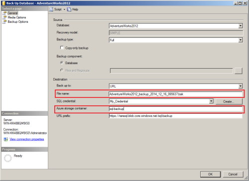 SQL Server Back to Azure using SSMS.1.5