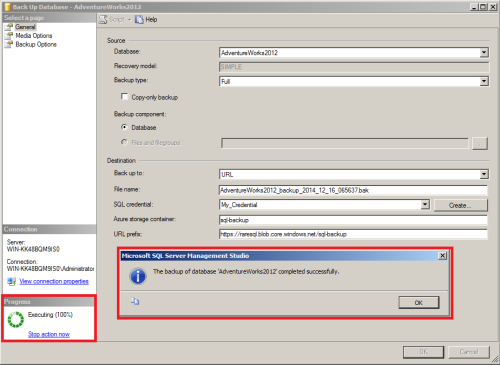 SQL Server Back to Azure using SSMS.1.8