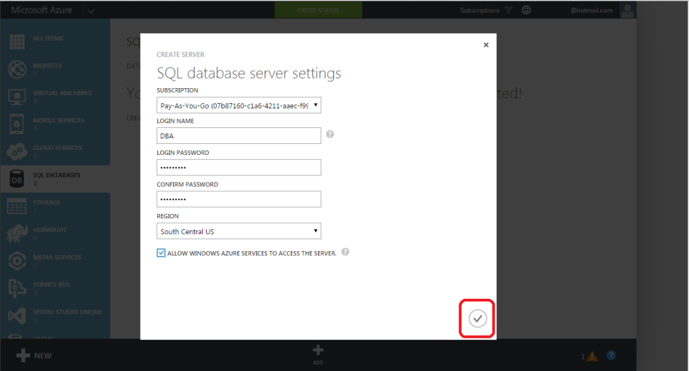 AZURE SQL SERVER - How to create server and database (3/6)