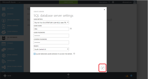 Azure Create SQL Server & Database.1.2