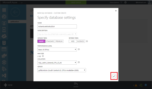 Azure Create SQL Server & Database 1.6