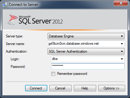 Connect Azure SQL using SSMS.1.3